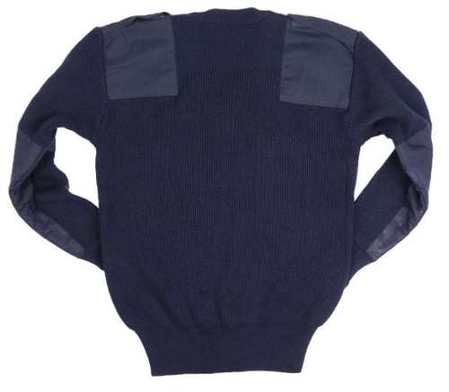 Italian Blue V-Neck 'Commando' Style Sweater - Used from Hessen Antique