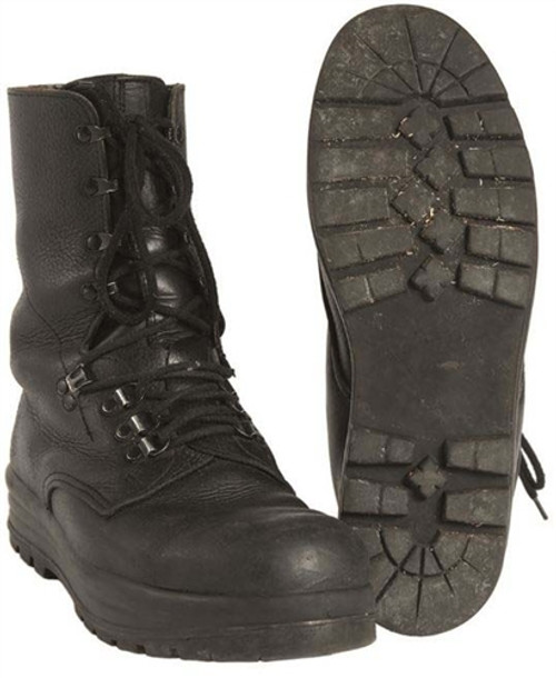 Swiss Black Leather Combat Boots - Used from Hessen Antique