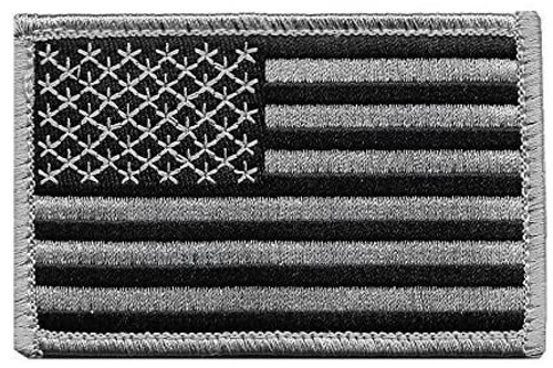 US Flag Embroidered Patch - Gray On Black