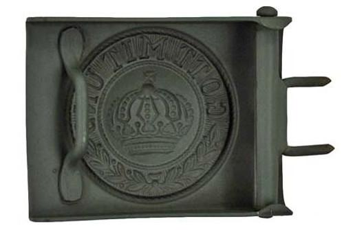 Prussian Steel Belt Buckle painted feldgrau from Hessen Antique