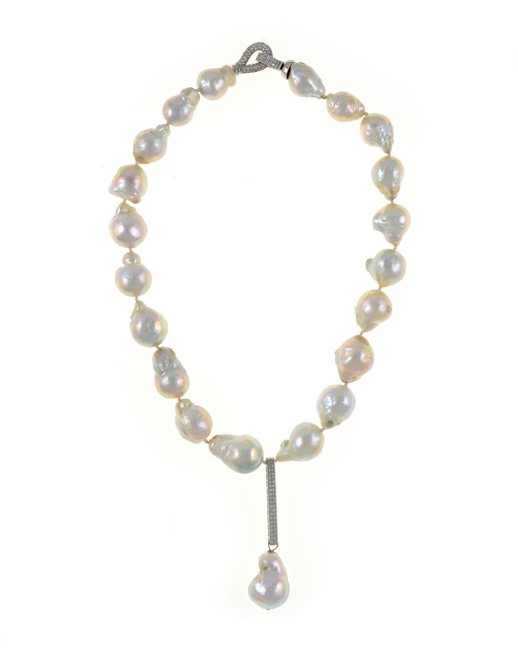 Silver Gray Statement Choker with Biwa cross pearls and Freshwater pearls Frost