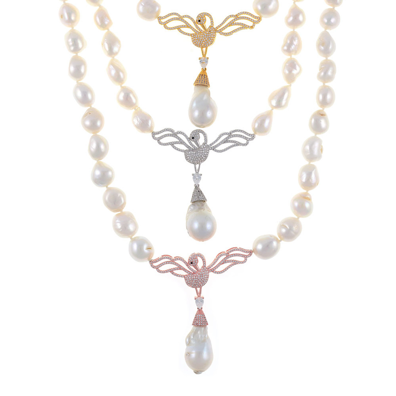 f132f12b538f Pearl Necklace featuring CZ Swan Pendant and Biawa Pearl