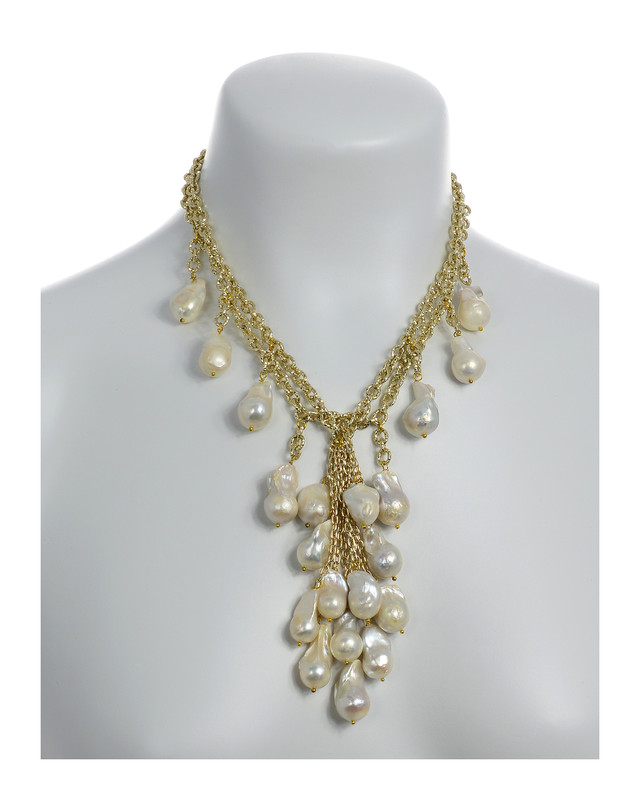 75ad3aaa383 Roma - White Pearl Cascade & Chain Necklace