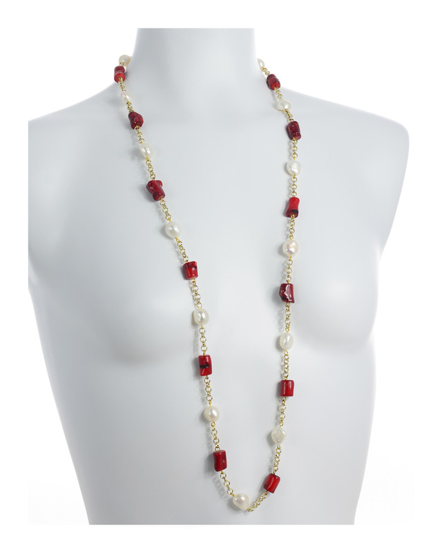 7649a017bf0a4 The Tibet Set*- White Pearl Necklace Accented with Stones