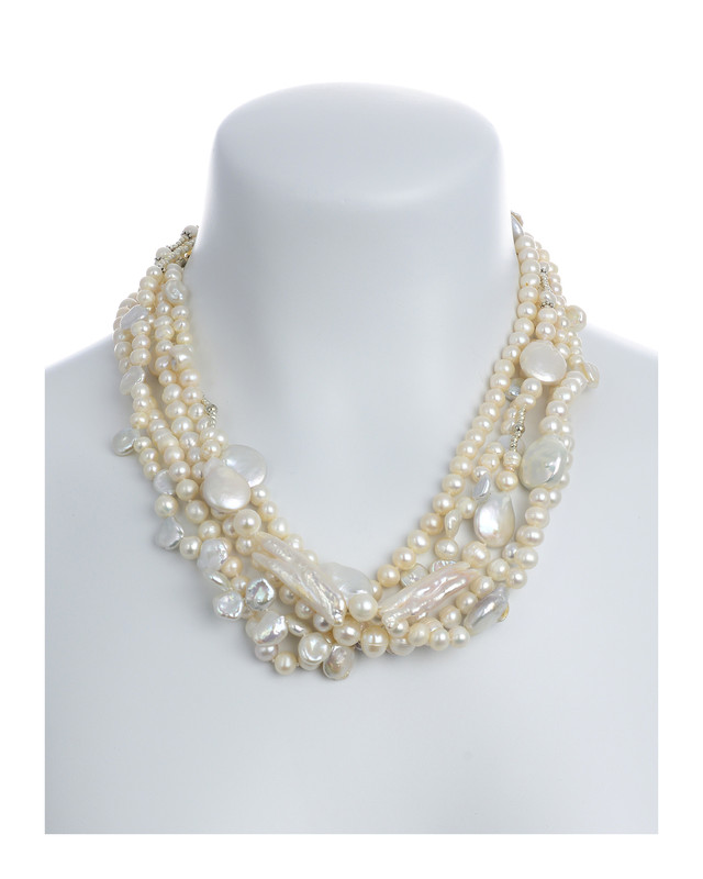 435c31245c82b White Cliffs - White Mixed Pearl Necklace 5-Strands