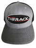 THERACK Grey Hat - THERACK Oval Stylized Embroidered Grey w/black hat with a snap back.