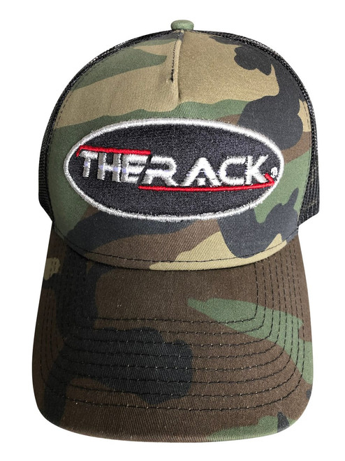 THERACK Camo Hat  - THERACK Oval Stylized Embroidered Camo w/black hat with a snap back.