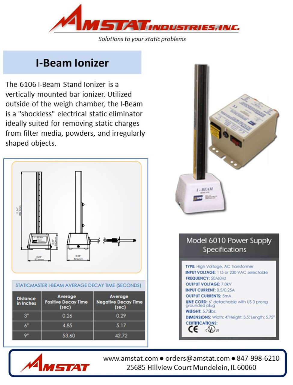 I-Beam Stand Electrical Ionizer Kit