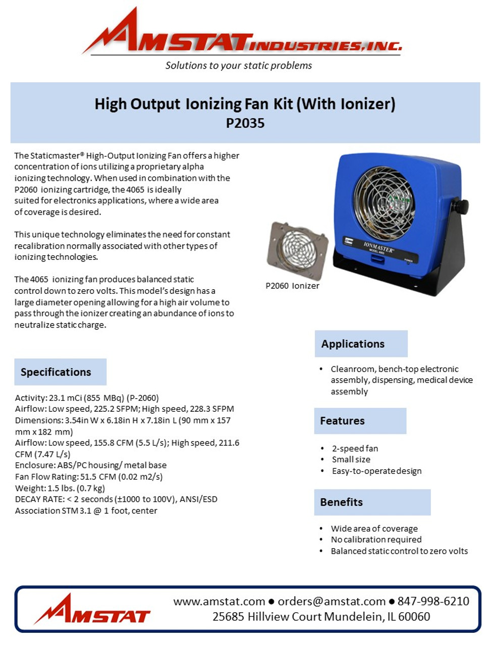 High Output Ionizing Fan Kit (With Ionizer)