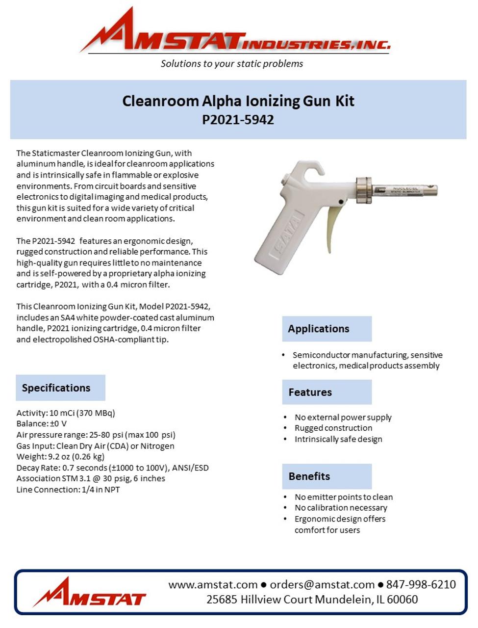 Cleanroom Alpha Ionizing Gun Kit - Aluminum Handle