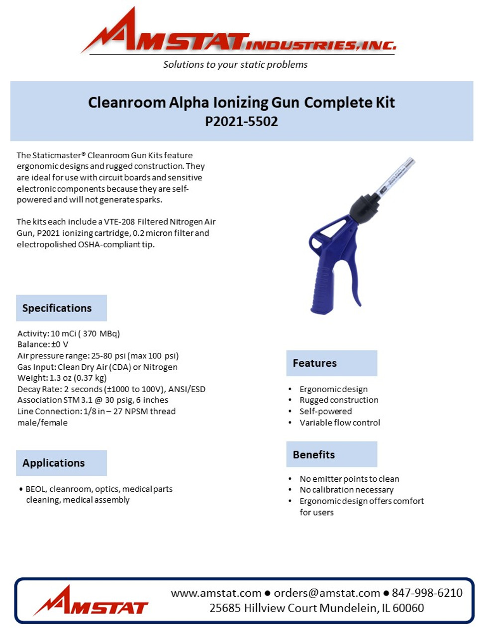Clean Room Alpha Ionizing Gun Complete Kit