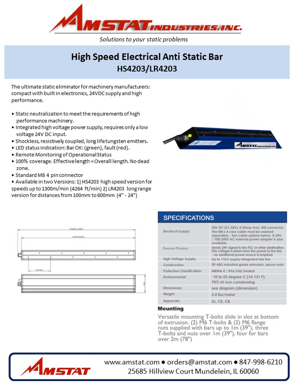Long Range Electrical Anti Static Bar