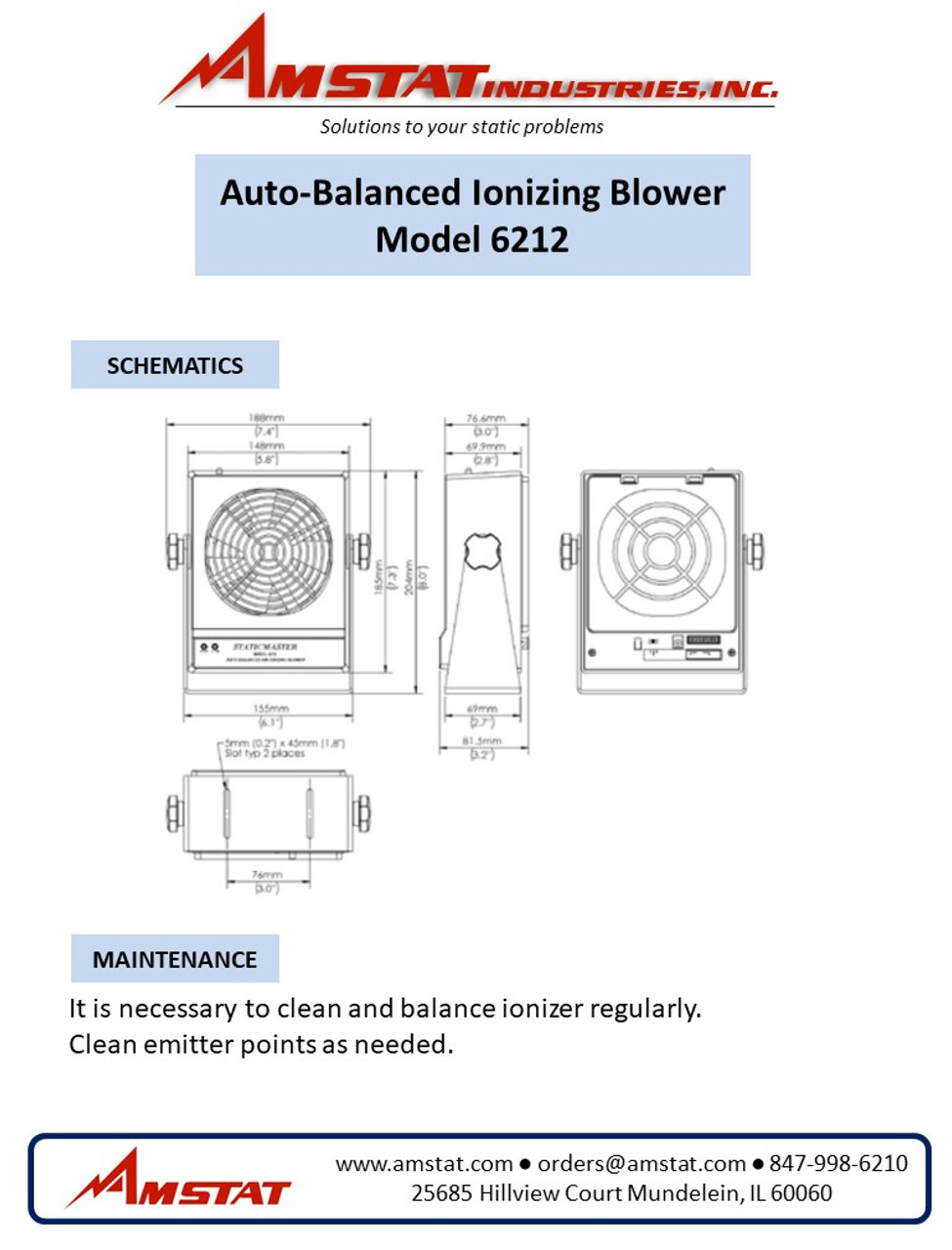 Auto-Balanced Ionizing Blower - 140 CFM
