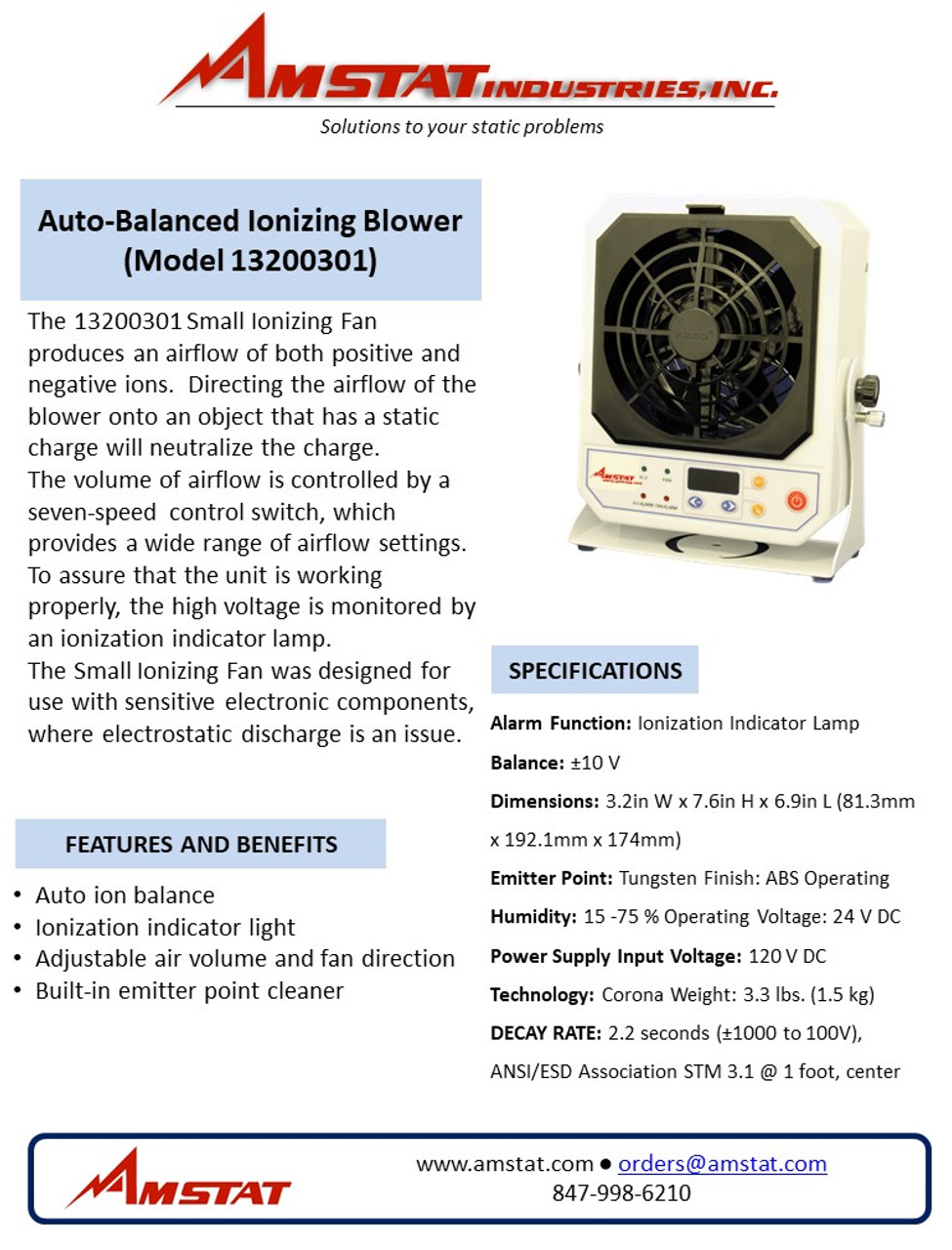 Auto-Balanced High Frequency Ionizing Blower