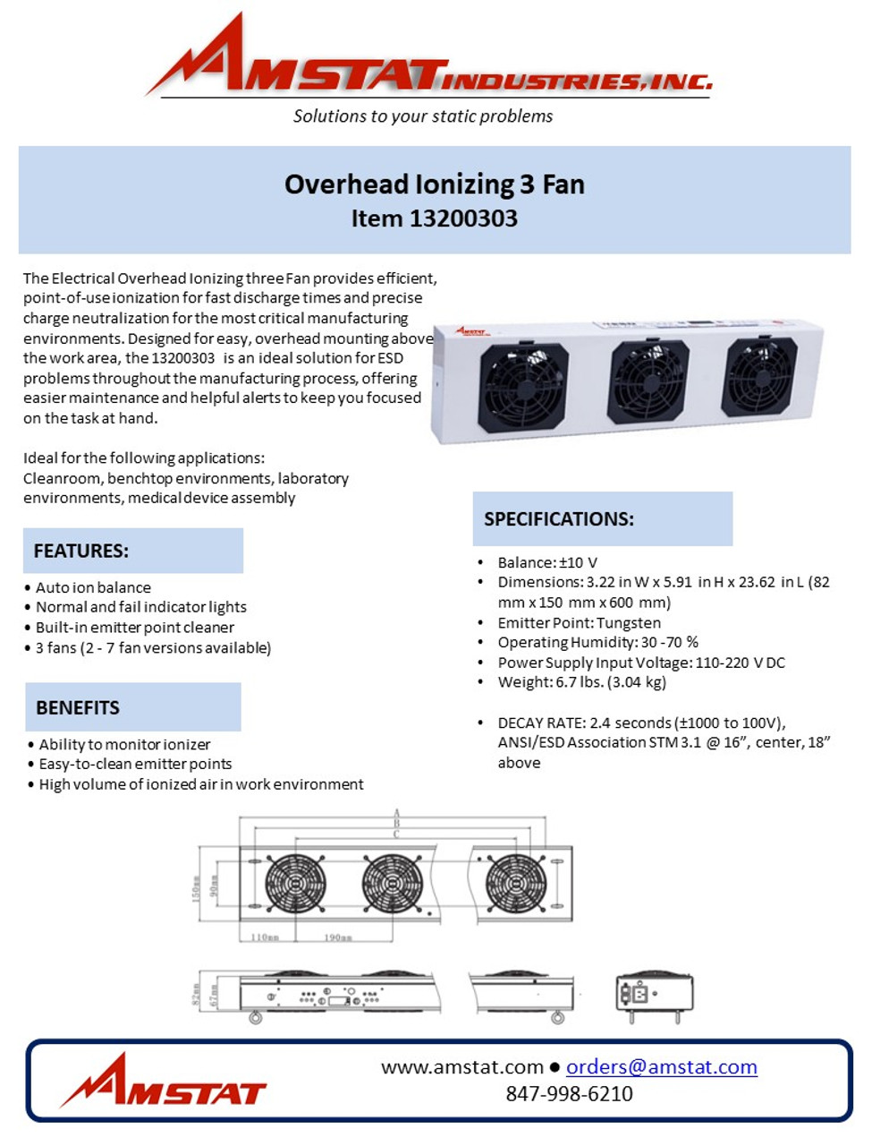 Overhead 3 Ionizing Fan -13200303