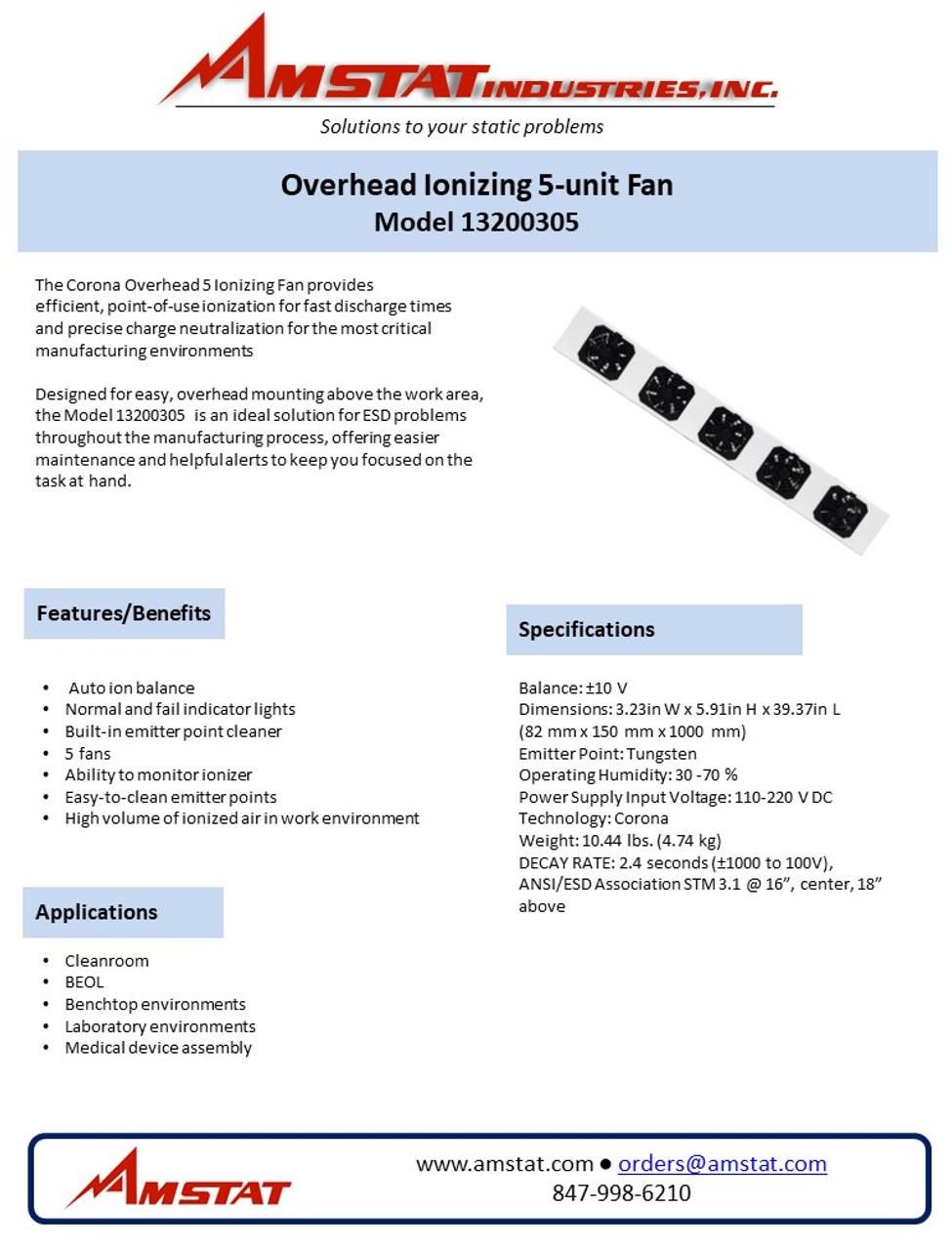 Overhead 5 Ionizing Fan - 13200305