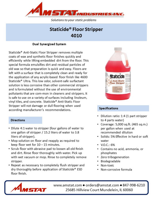 Staticide Floor Stripper Data Sheet