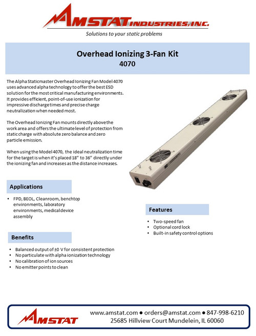 Overhead Ionizing 3-Fan Kit (Includes Ionizers)