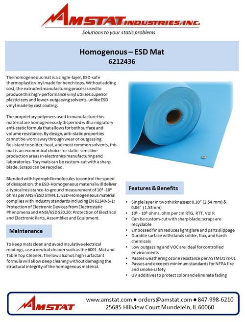 Homogeneous Pre-Cut ESD Mats (Light Blue)