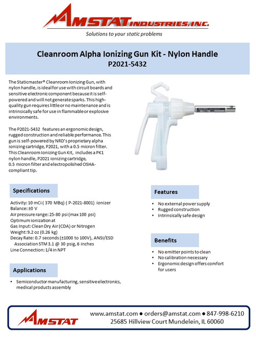 Cleanroom Alpha Ionizing Gun Kit - Nylon Handle
