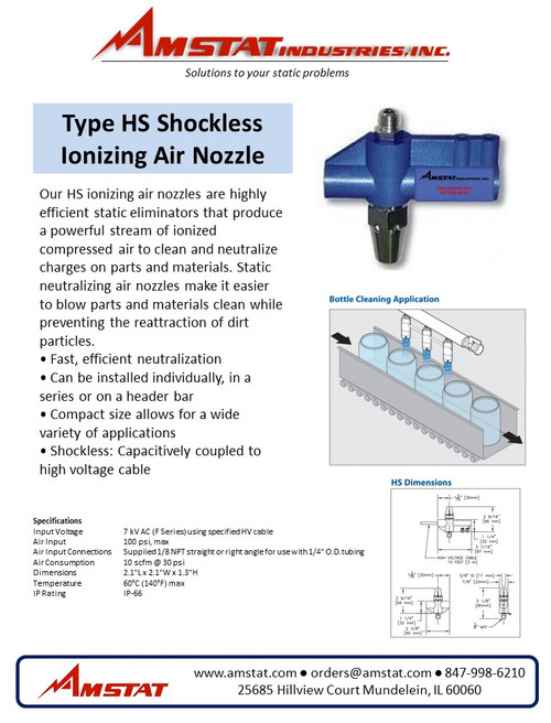 HS Ionizing Air Nozzle - Thru