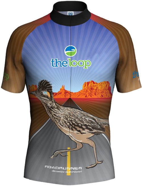 Roadrunner Bike Jersey (Front). Back design is the same as the front.