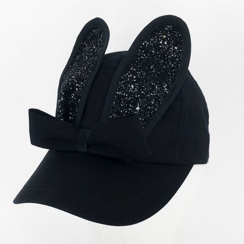 Glitter Bunny Cap - Black