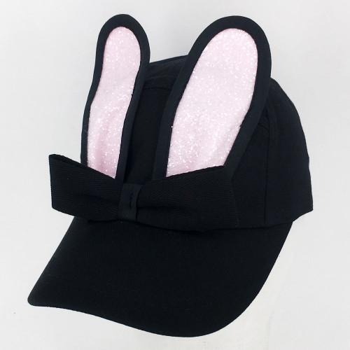 Glitter Bunny Cap - Black/Pink