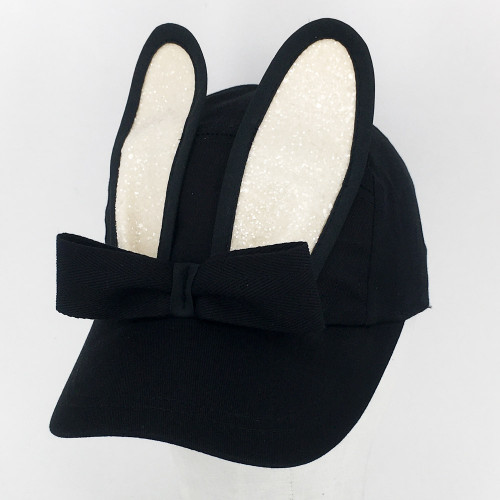 Glitter Bunny Cap - Black/Cream