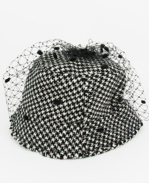 Tweed Veil Hat - Black/White