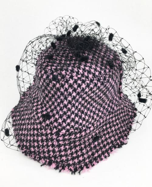 Tweed Veil Hat - Black/Pink SOLD OUT