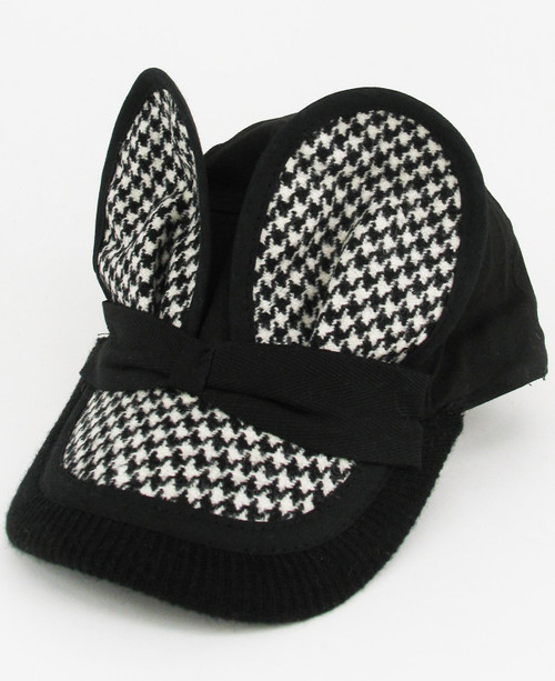 Tweed Mouse Cap - Black/White