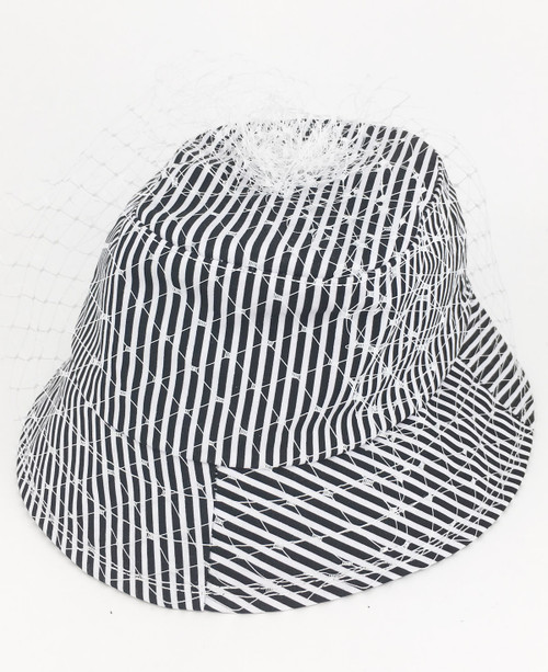 Shirt Veil Hat - Black/White