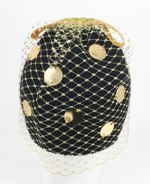 Sequin Veil Beanie - Black/Gold