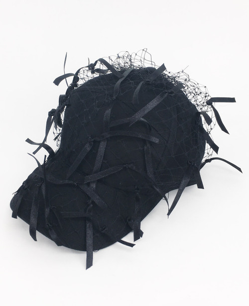 Ribbon Veil Cap - Black
