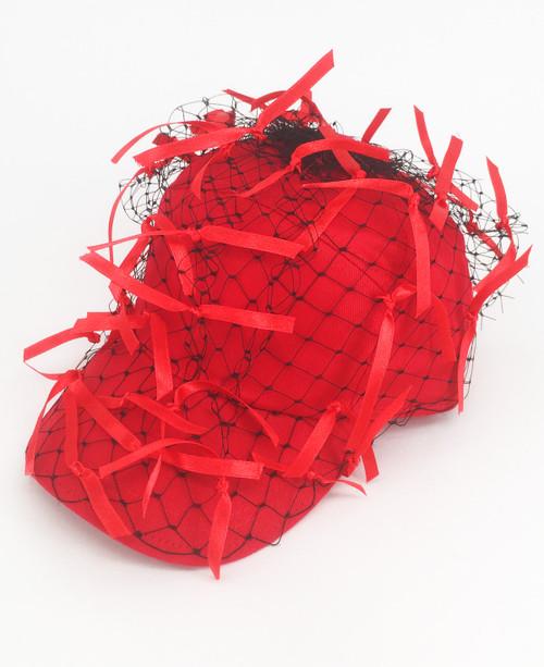 Ribbon Veil Cap - Red