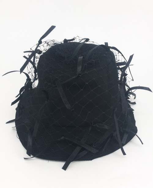 Ribbon Veil hat - Black