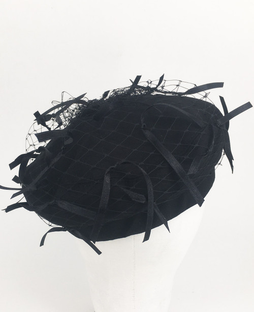 Ribbon Veil Beret - Black