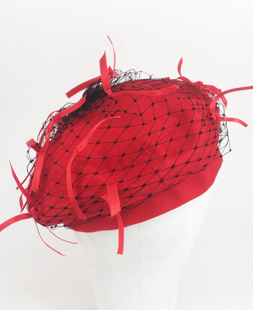 Ribbon Veil beret - Red