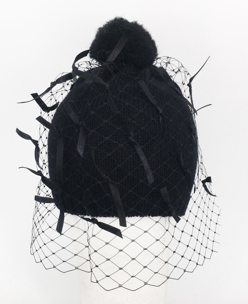 Ribbon Veil Beanie - Black