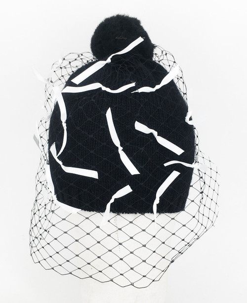 Ribbon Veil Beanie - Black/White