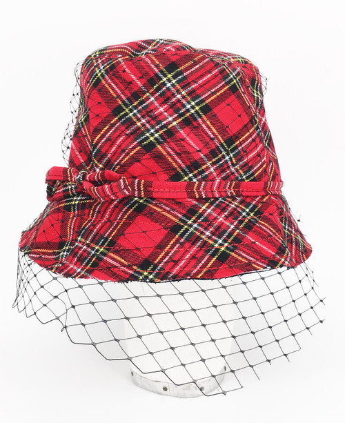 Tartan Veil Hat - Red