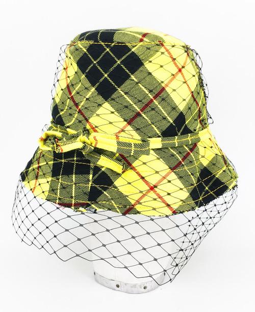 Tartan Veil Hat - Yellow & Black