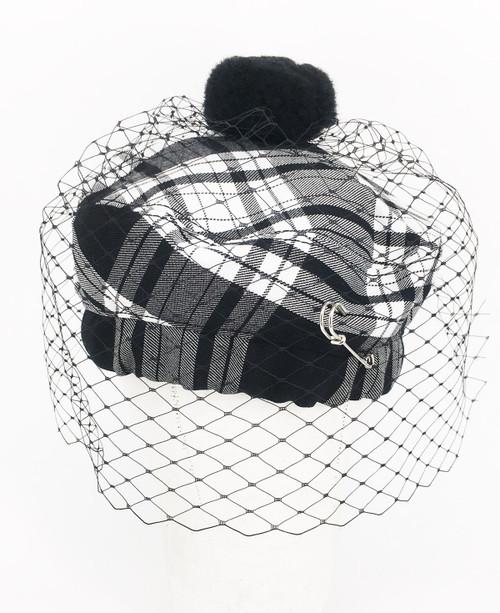 Tartan Veil Beret - Black & White