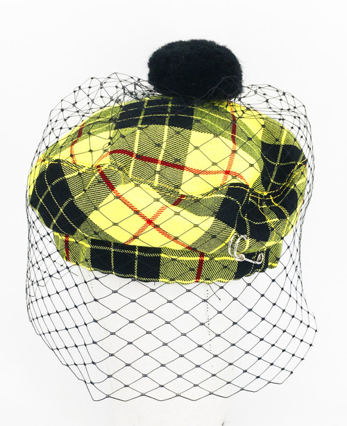 Tartan Veil Beret - Yellow & Black