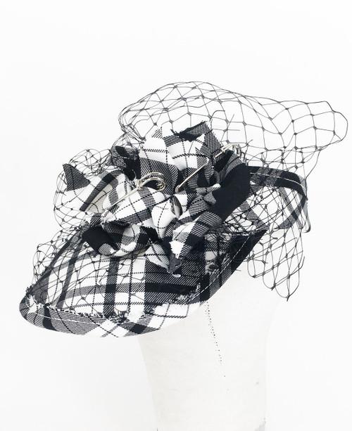 Tartan Veil Visor - Black & White