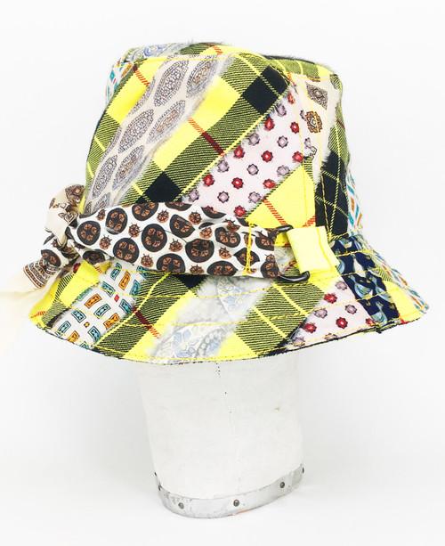 Mixed Tartan Bucket Hat - Yellow & Black