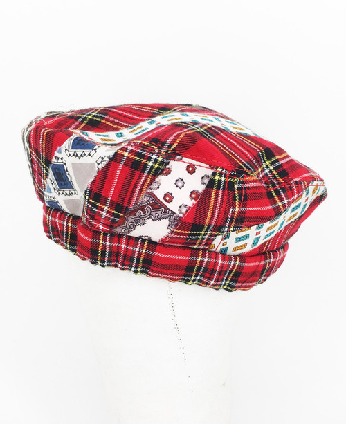Mixed Tartan Beret - Red