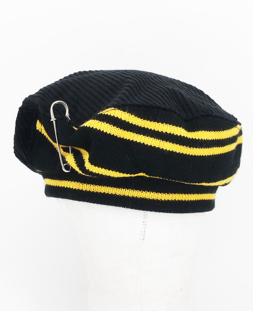 Stripe Beret - Black & Yellow