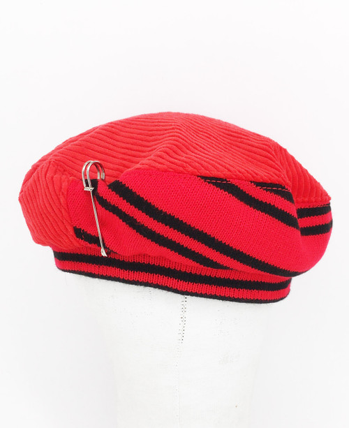Stripe Beret - Red & Black